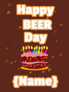 Happy birthday beer and birthday cake
