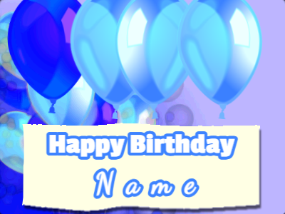 Blue Birthday Banner and Balloons