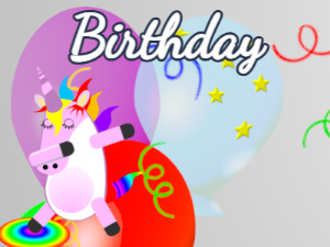 Dabbing Unicorn:balloon background,yellow flowers,fruity cake