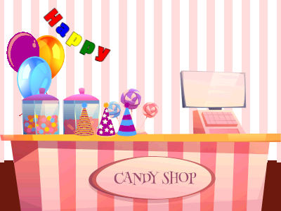Candy store birthday party gif