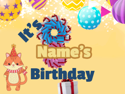 Balloons, cat and birthday presents