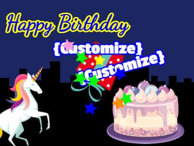 Unicorn Birthday Night GIF