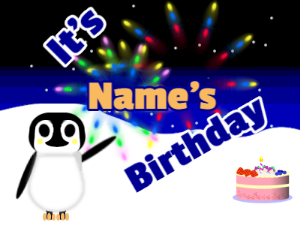 Penguin Waving Happy Birthday