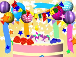 Cake and birthday greeting