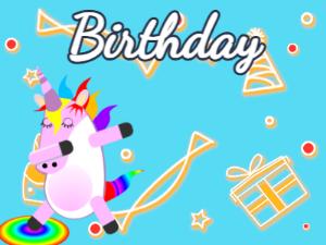 Dabbing Unicorn:blue background,yellow flowers,pink cake