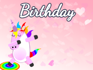 Dabbing Unicorn:pink hearts background,blue flowers,pink cake