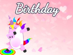Dabbing Unicorn:pink hearts background,blue flowers,fruity cake