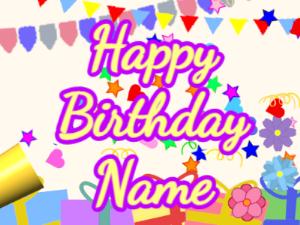 Horn, confetti, party, cursive, yellow, purple