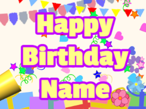 Horn, confetti, party, block, yellow, purple
