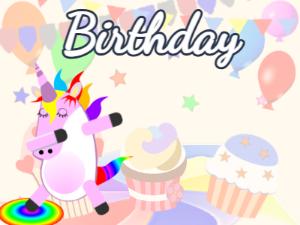 Dabbing Unicorn:party background,blue flowers,fruity cake