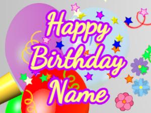 Horn, stars, balloon, cursive, yellow, purple
