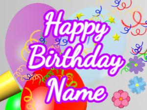 Horn, noodles, balloon, cursive, white, purple