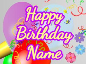 Horn, noodles, balloon, cursive, yellow, purple