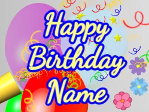 Horn, noodles, balloon, cursive, yellow, blue
