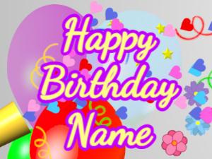 Horn, hearts, balloon, cursive, yellow, purple