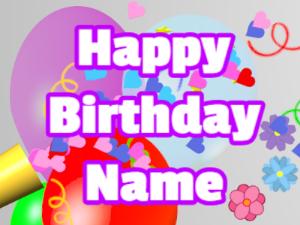 Horn, hearts, balloon, block, white, purple
