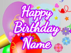 Horn, confetti, balloon, cursive, white, purple