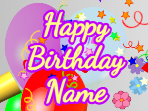 Horn, confetti, balloon, cursive, yellow, purple