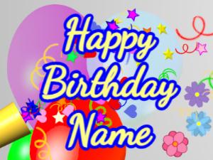 Horn, confetti, balloon, cursive, yellow, blue