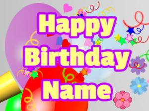 Horn, confetti, balloon, block, yellow, purple