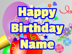 Horn, confetti, balloon, block, yellow, blue