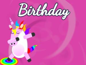 Dabbing Unicorn:purple background,blue flowers,pink cake