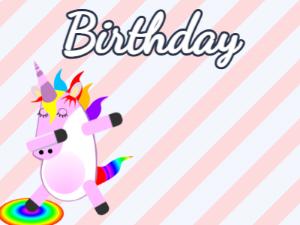 Dabbing Unicorn:stripes background,blue flowers,candy cake