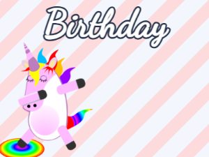 Dabbing Unicorn:stripes background,blue flowers,chocolate cake