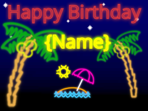 Tropical Birthday with palm trees and neon