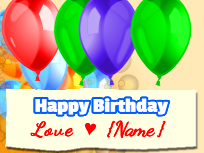 Birthday Balloons love banner