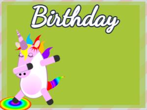 Dabbing Unicorn:green background,blue flowers,pink cake