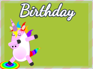 Dabbing Unicorn:green background,blue flowers,candy cake