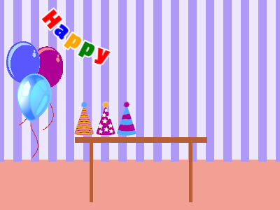 Purple party room gif with balloons, gifts, and a birthday pinata