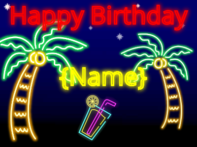 Neon tropics birthday wish