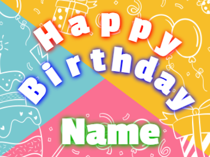 Birthday greeting on pulsing background
