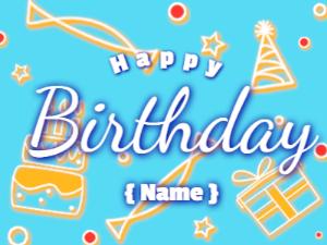 Birthday on blue decor