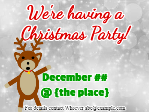 Christmas Invitation with colored snowflakes on white background