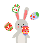 Easter Bunny Juggling Easter eggs gif