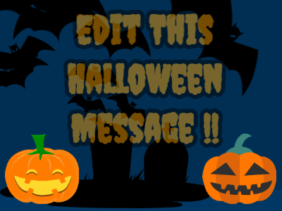 Halloween Message with Pumpkins and Bats