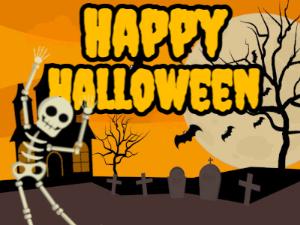 Dancing Skeleton Wishing Happy Halloween