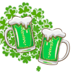 St. Patrick's Day Beer and Clover Fireworks GIF
